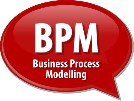 bpm: Speech bubble illustration of information technology acronym abbreviation term definition BPM Business Process Modelling