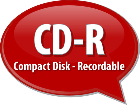 recordable: Speech bubble illustration of information technology acronym abbreviation term definition CD-R Compact Disk Recordable