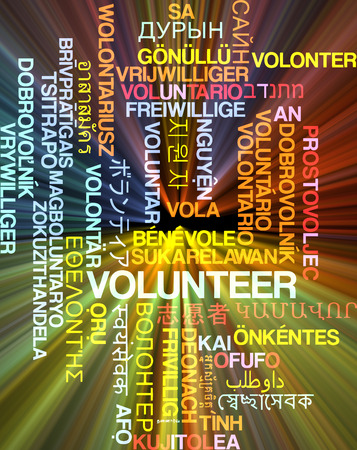 volunteering: Background concept wordcloud multilanguage international many language illustration of volunteering glowing light