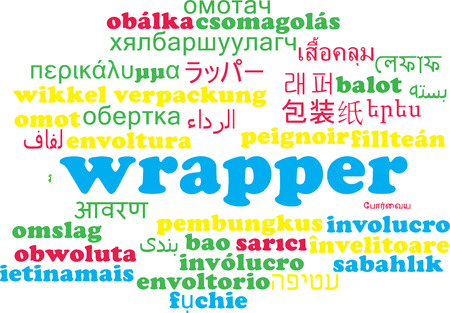 wrapper: Background concept wordcloud multilanguage international many language illustration of wrapper