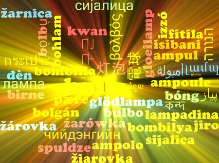 neon plant: Background concept wordcloud multilanguage international many language illustration of bulb glowing light