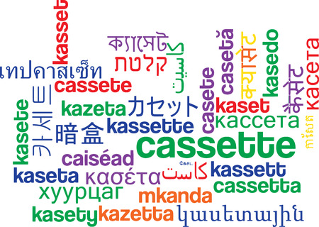 videocassette: Background concept wordcloud multilanguage international many language illustration of cassette Stock Photo