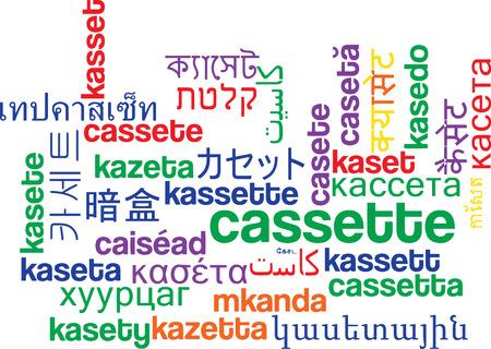 videocassette: wordcloud concepto de fondo en varios idiomas muchos ilustración internacional lenguaje de la casete Foto de archivo