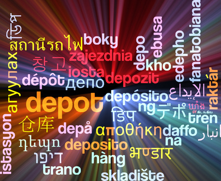 depot: Background concept wordcloud multilanguage international many language illustration of depot glowing light