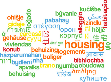housing: Background concept wordcloud multilanguage international many language illustration of housing