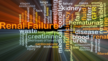 renal failure: Background concept wordcloud illustration of renal failure glowing light Stock Photo
