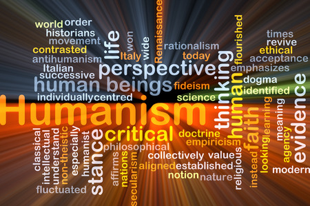 time critical: Background concept wordcloud illustration of humanism glowing light
