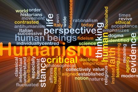 humanismo: Concepto de fondo wordcloud ilustración de la luz que brilla intensamente humanismo Foto de archivo