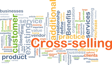 wordcloud: Background concept wordcloud illustration of cross-selling Stock Photo