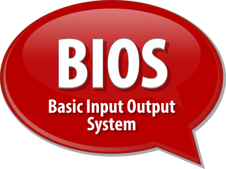 input output: Speech bubble illustration of information technology acronym abbreviation term definition BIOS Basic Input Output System Stock Photo