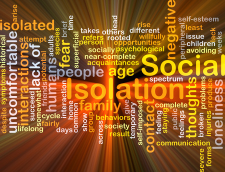 avoiding: Background concept wordcloud illustration of social isolation glowing light