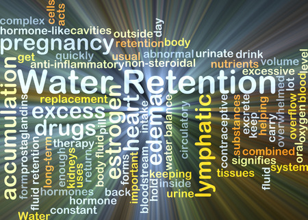 Background concept wordcloud illustration of water retention glowing light Фото со стока