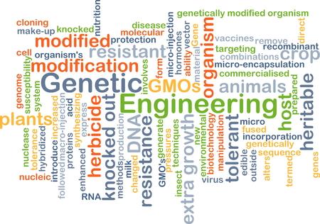 genetic engineering: Background concept wordcloud illustration of genetic engineering Stock Photo