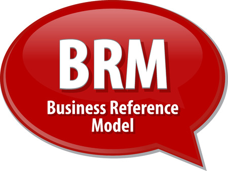 reference: Speech bubble illustration of information technology acronym abbreviation term definition BRM Business Reference Model Stock Photo