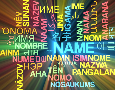 specify: Background concept wordcloud multilanguage international many language illustration of name glowing light