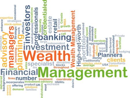 Achtergrond concept wordcloud illustratie van vermogensbeheer Stockfoto