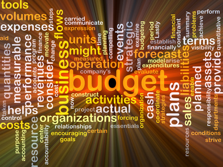 liabilities: Background concept wordcloud illustration of budget glowing light