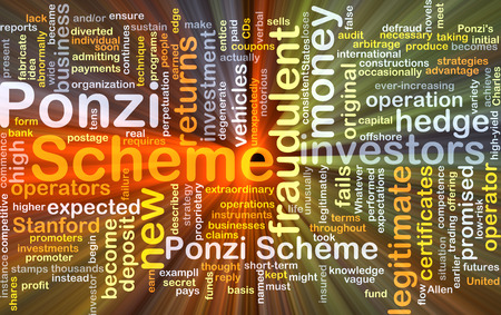 legitimate: Background concept wordcloud illustration of Ponzi scheme glowing light Stock Photo