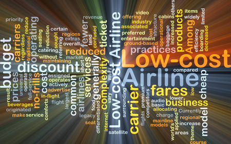 cost reduction: Background concept wordcloud illustration of low-cost airline glowing light