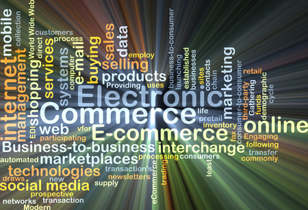 electronic commerce: Background concept wordcloud illustration of electronic commerce glowing light