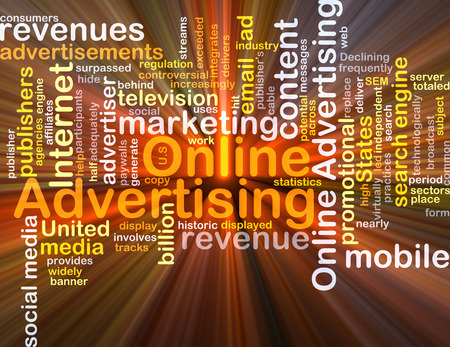 online advertising: Background concept wordcloud illustration of online advertising glowing light Stock Photo
