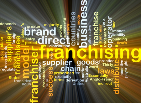 franchising: Background concept wordcloud illustration of franchising glowing light
