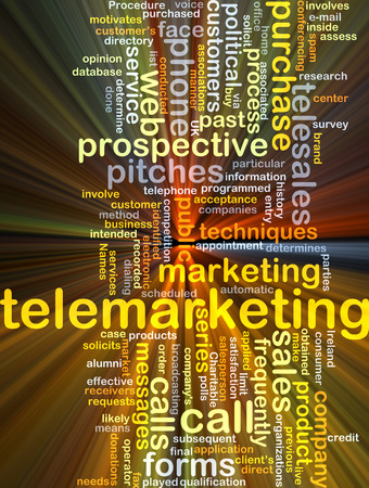 Background concept wordcloud illustration of telemarketing glowing light Stock Photo