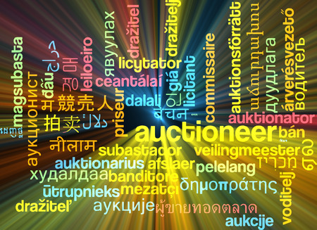 auctioneer: Background concept wordcloud multilanguage international many language illustration of auctioneer glowing light Stock Photo