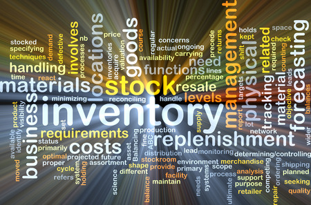 replenishment: Background concept wordcloud illustration of inventory glowing light Stock Photo