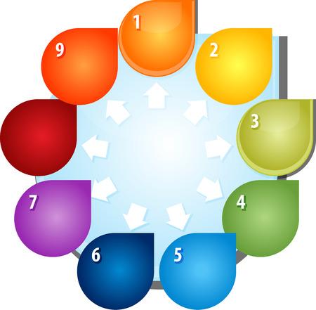 outward: blank business strategy concept diagram illustration outward direction arrows nine 9