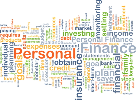 stylized banking: Background concept wordcloud illustration of personal finance