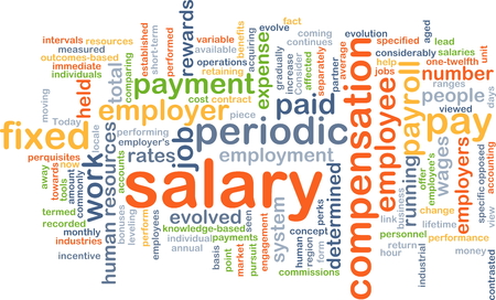 wages: Background concept wordcloud illustration of salary Stock Photo