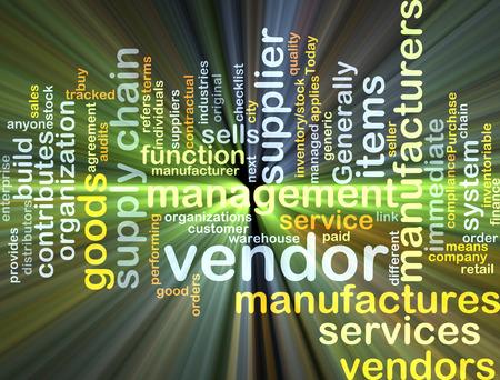Background concept wordcloud illustration of vendor glowing light