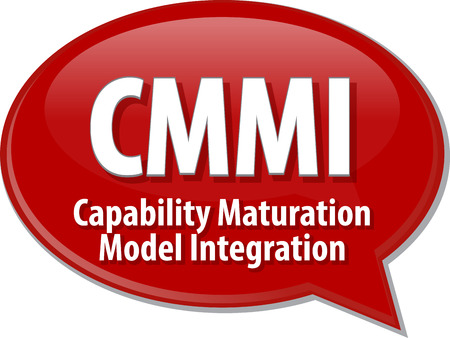 capability: Speech bubble illustration of information technology acronym abbreviation term definition CMMI Capability Maturation Model Integration Stock Photo