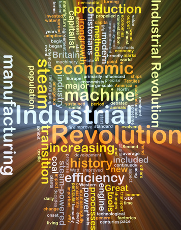 historians: Background concept wordcloud illustration of industrial revolution glowing light