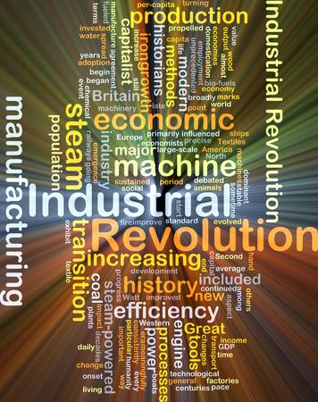 historians: Sfondo concetto illustrazione wordcloud di rivoluzione industriale luce incandescente