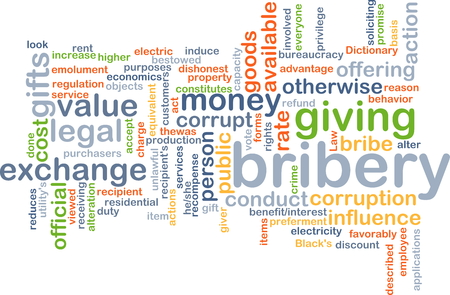 bribery: Background concept wordcloud illustration of bribery Stock Photo
