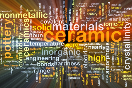 Background concept wordcloud illustration of ceramic glowing light