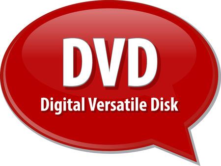 versatile: Speech bubble illustration of information technology acronym abbreviation term definition DVD Digital Versatile Disk