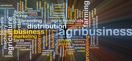 agribusiness: Background concept wordcloud illustration of agribusiness glowing light Stock Photo