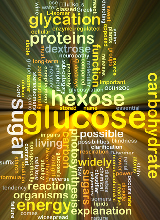 glucose: Background concept wordcloud illustration of glucose glowing light Stock Photo