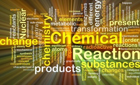 chemical reaction: Background concept wordcloud illustration of chemical reaction glowing light