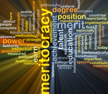implemented: Background concept wordcloud illustration of meritocracy glowing light