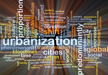 urbanized: Background concept wordcloud illustration of urbanization glowing light