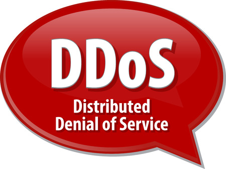 denial: Speech bubble illustration of information technology acronym abbreviation term definition DDoS Distributed Denial of Service Stock Photo