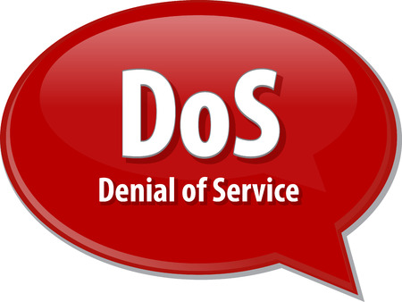 dos: Speech bubble illustration of information technology acronym abbreviation term definition DoS Denial of Service