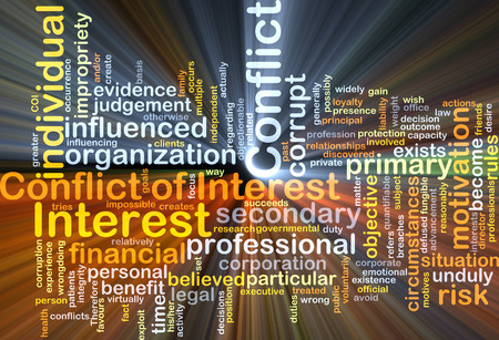 circumstances: Background concept wordcloud illustration of conflict of interest glowing light Stock Photo