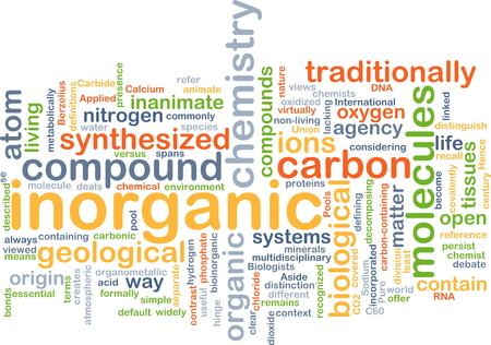 ions: Background concept wordcloud illustration of inorganic Stock Photo
