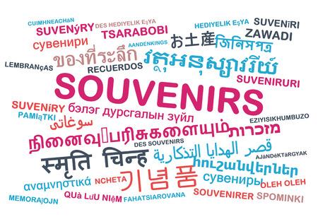 souvenirs: Background concept wordcloud multilanguage international many language illustration of souvenirs