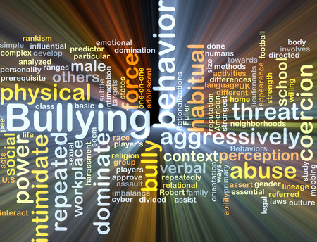 aggressively: Background concept wordcloud illustration of bullying glowing light